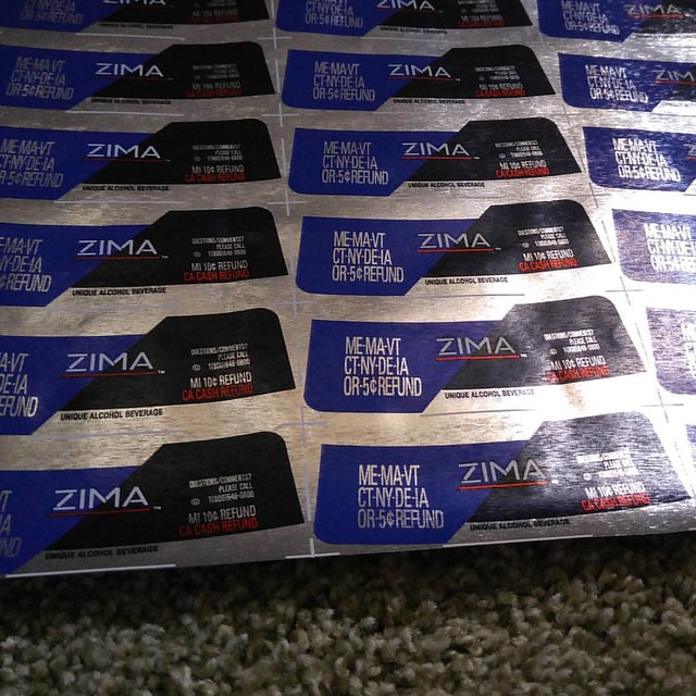 "No, I don""t know yet what I""ll do with an uncut sheet of Zima bottle labels. Maybe use them as matting in a frame."