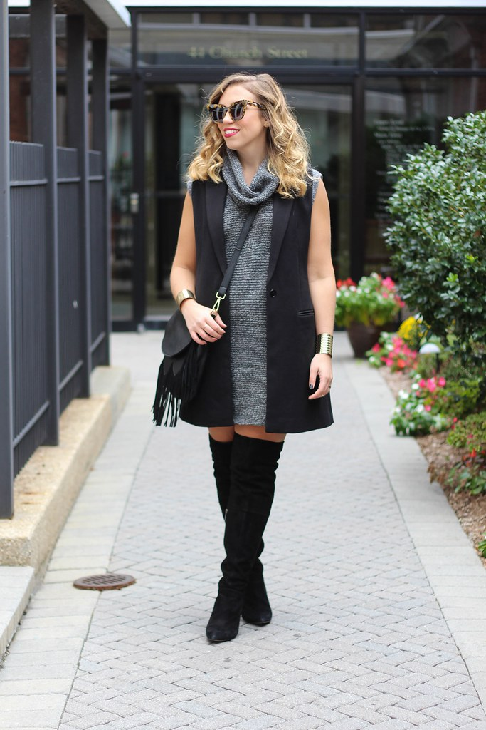 Fringe Purse | Sweater Dress | OTK Suede Boots | Fall Fashion
