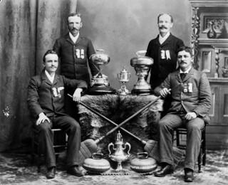 Curling champions of Walkerville, 1894: D. Stewart, J. Rochon, A. Hodgson, and W.H. Whalen / Champions de curling de Walkerville , 1894 : D. Stewart, J. Rochon, A. Hodgson et W. H. Whalen