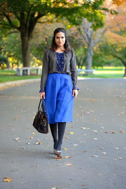 Blouse - Rebecca Taylor Skirt - Piperlime Shoes - ALDO Tights - Hanes Bag - Fendi Ring - Chloe & Isabel Autumn 2015 Tanvii.com