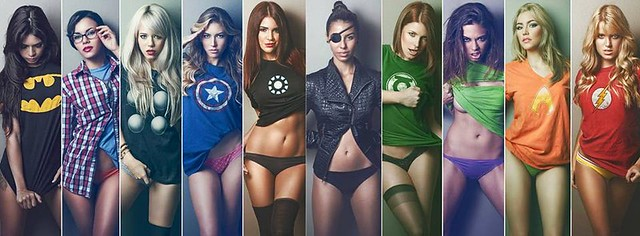 nerd-babes-wearing-superhero-shirts