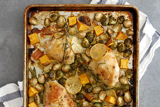 One Pan Lemon Rosemary Chicken Thighs | girlversusdough.com @girlversusdough