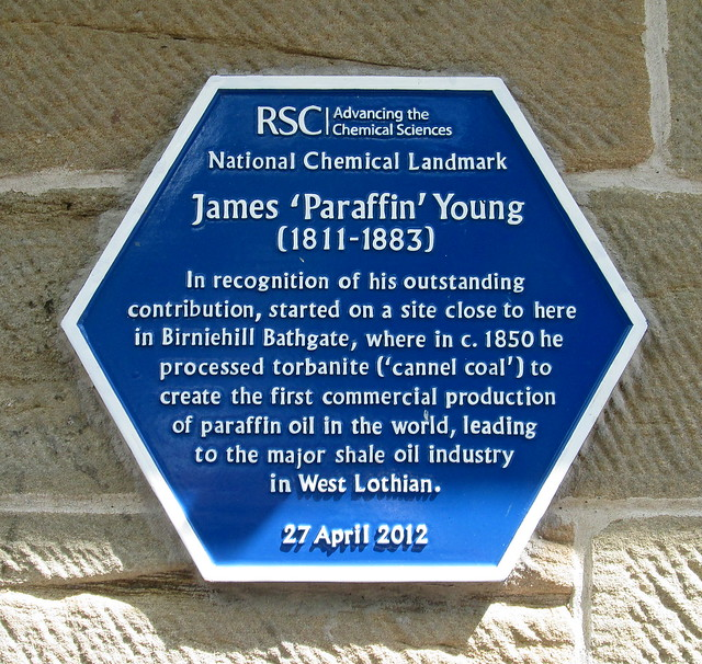 Plaque to Paraffin Young, Bathgate