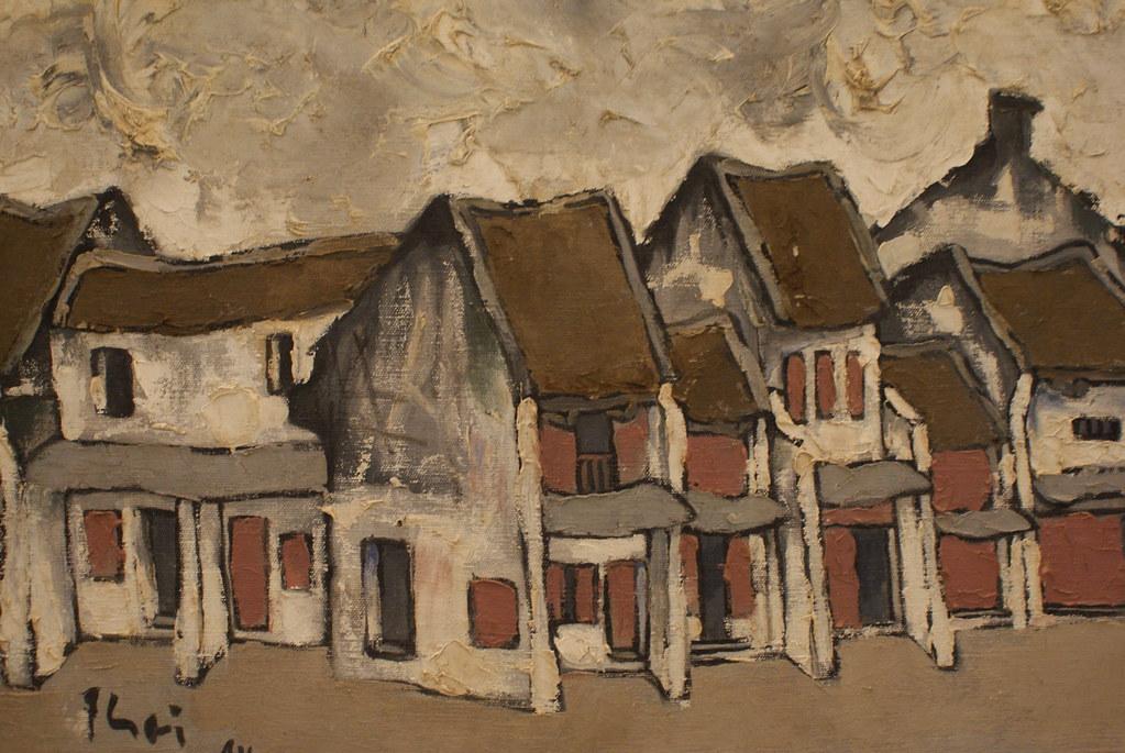 """""""Rue Hang Mam"""" à Hanoi par Bui Xuan Phai (1984) au Musée des beaux arts d'Hanoi au Vietnam."""