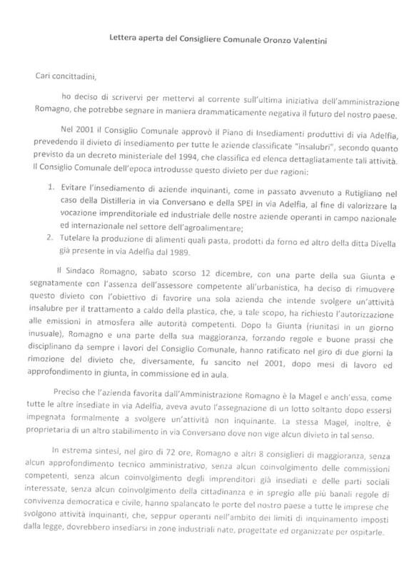 Rutigliano- il consiglier Valentini scrive una lettera ai cittadni