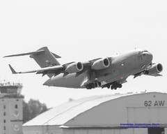 C-17 Globemaster III Heading Up From #JBLM in Black, White & Red