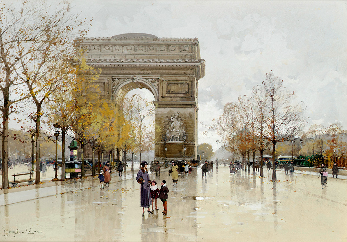 L'Arc de Triomphe, Paris by Eugène Galien-Laloue