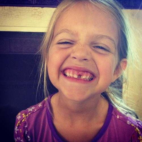 "I think I'm sadder about this missing tooth than about her starting kindergarten! Too many ""lasts"" this week..."