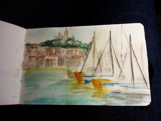 Fast watercolor sketch: Marseille the old port