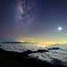 Moon and Galaxy, Mountain Hehuan,合歡山,台灣 by Vincent_Ting