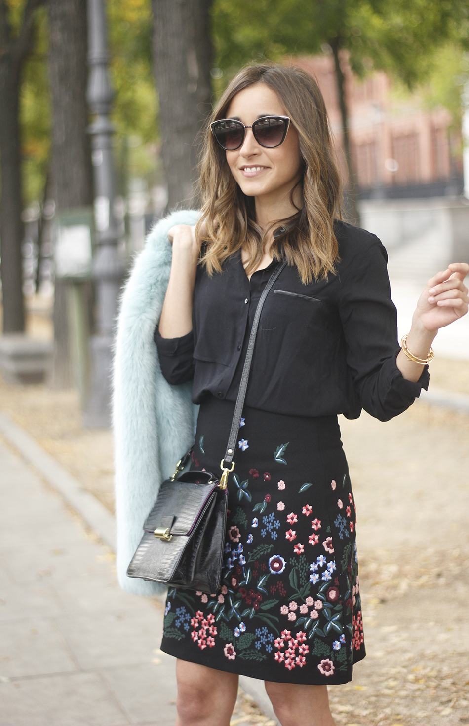 black skirt with flowers outfit12