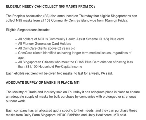 Free masks for elderly and needy from Channel NewsAsia. Singapore Haze 2015