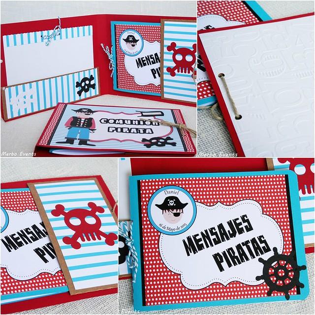 Mini album de firmas y recuerdos para comunión pirata