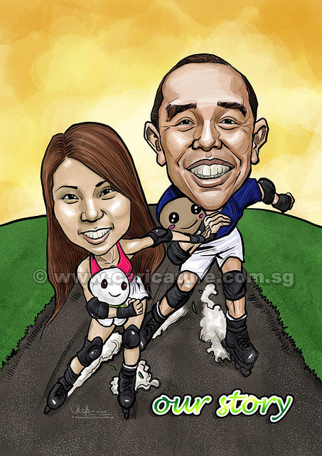 couple digital caricatures rollerblading (watermarked)