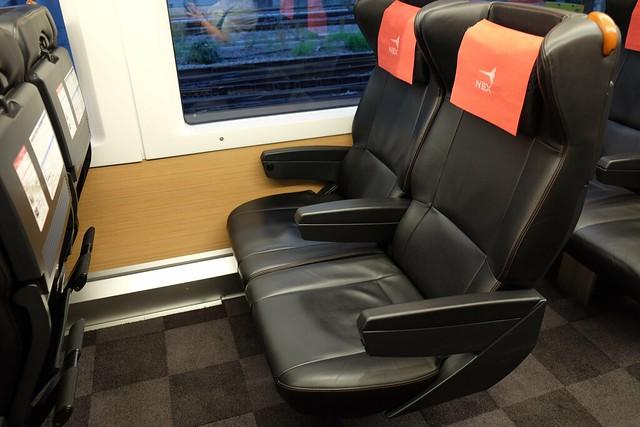 Inside business class on Nex Train to Narita
