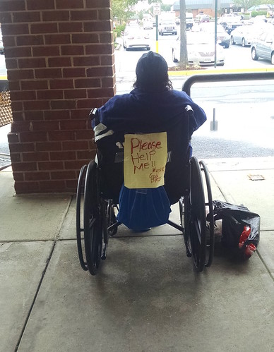 Homeless Woman in Wheelchair at Safeway