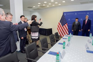 Secretary Kerry Stands with Ukrainian Foreign Minister Klimkin Before a Meeting in Belgrade