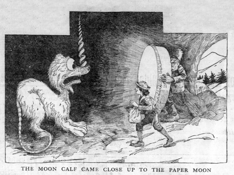 Walt McDougall - The Salt Lake herald., December 14, 1902, The Moon Calf Came Close Up To The Paper Moon