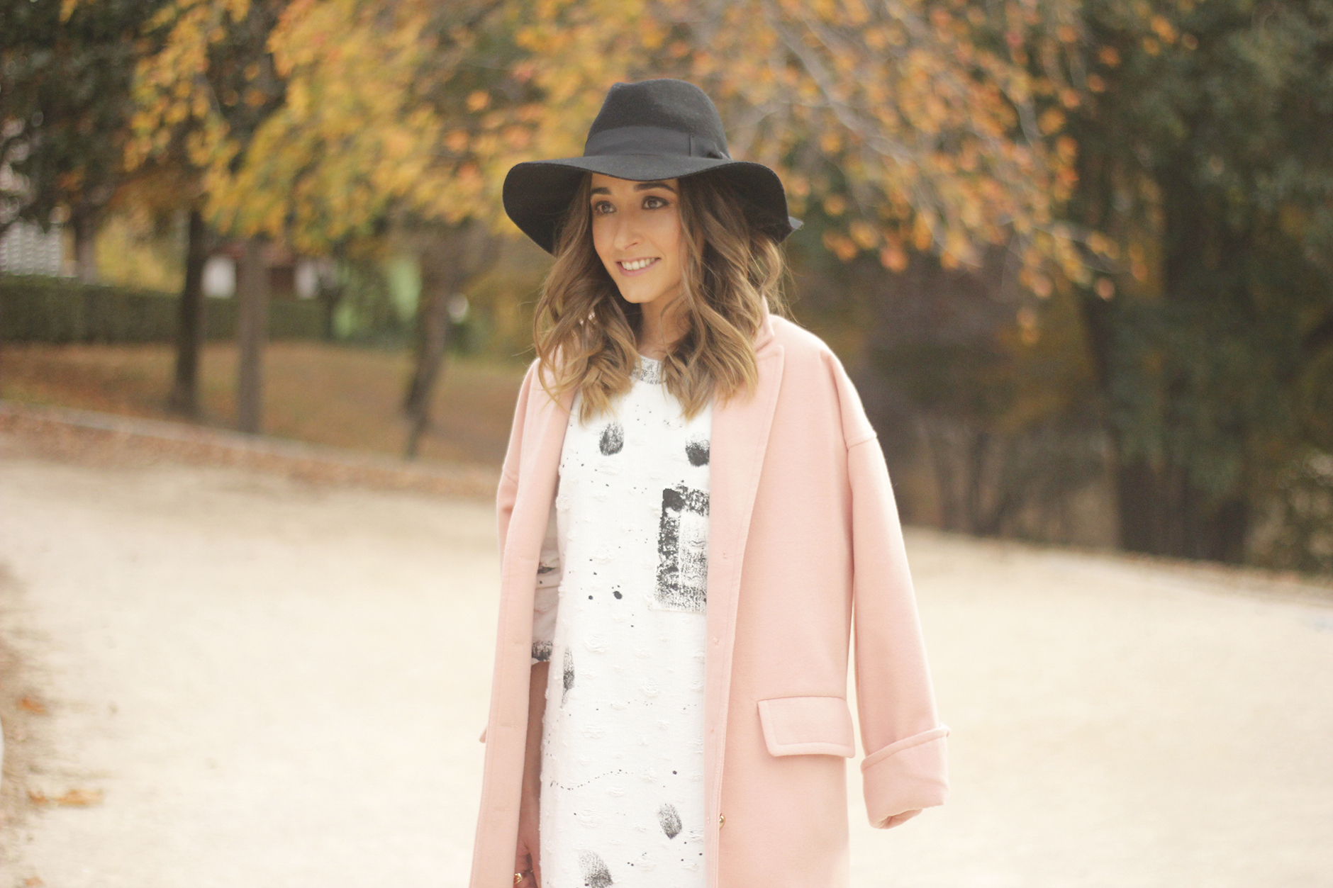 Black and White Dress Pink Coat Black Hat outfit style over the knees boots23