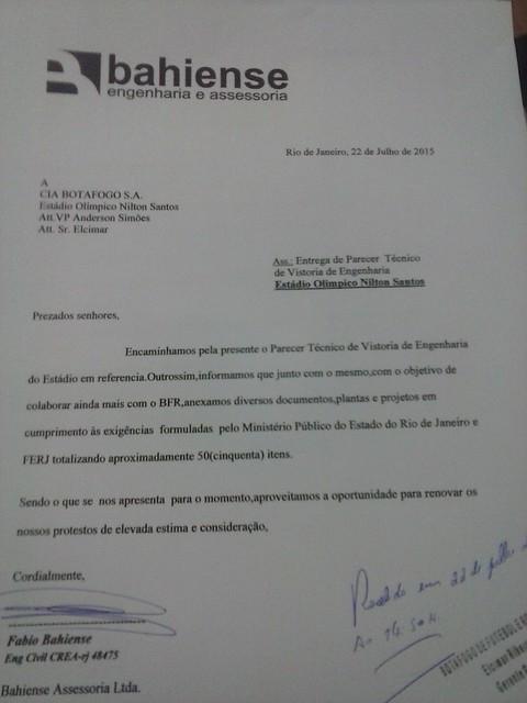 PROTOCOLO de entrega LAUDO TECNICO Est NILTON SANTOS -CAM00323