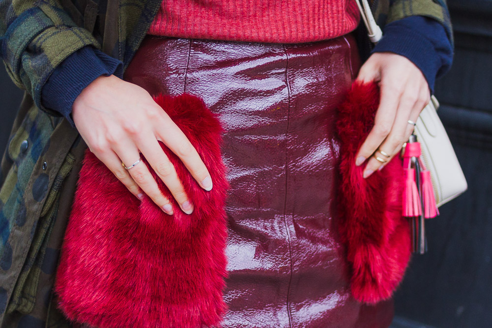 asos patent look fur pocket skirt