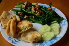 Broccolini & Veggie-chick'n, Cucumbers, a…