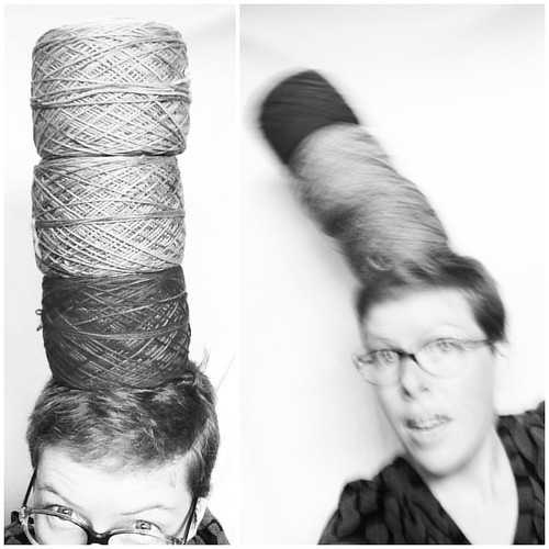 I was trying to photograph these giant cakes of yarn on my head, because why not, but they kept falling. My job is really hard.