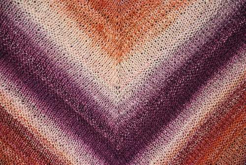 Stockinette and garter stitch knitting with gradient handspun yarn