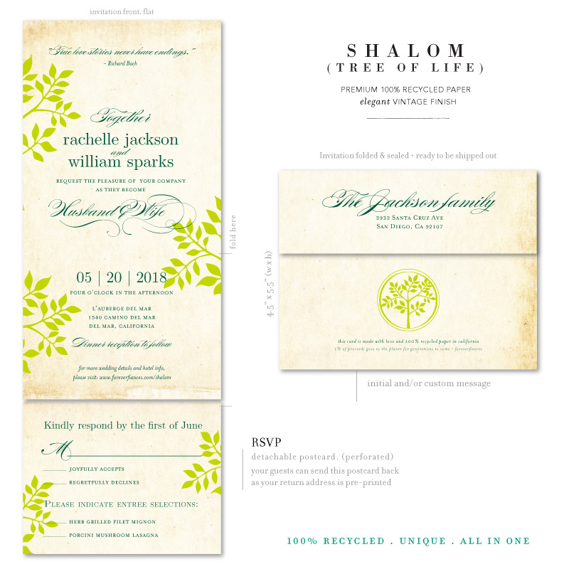 Tree Of Life Invitation Rsvp Celtic Life By: Shalom (100% Recycled Paper