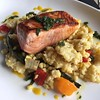 king salmon, fregola, grilled vegetables, saffron vinaigrette. totally unexpected but delicious (bien sûr). #detroit #seldenstandard