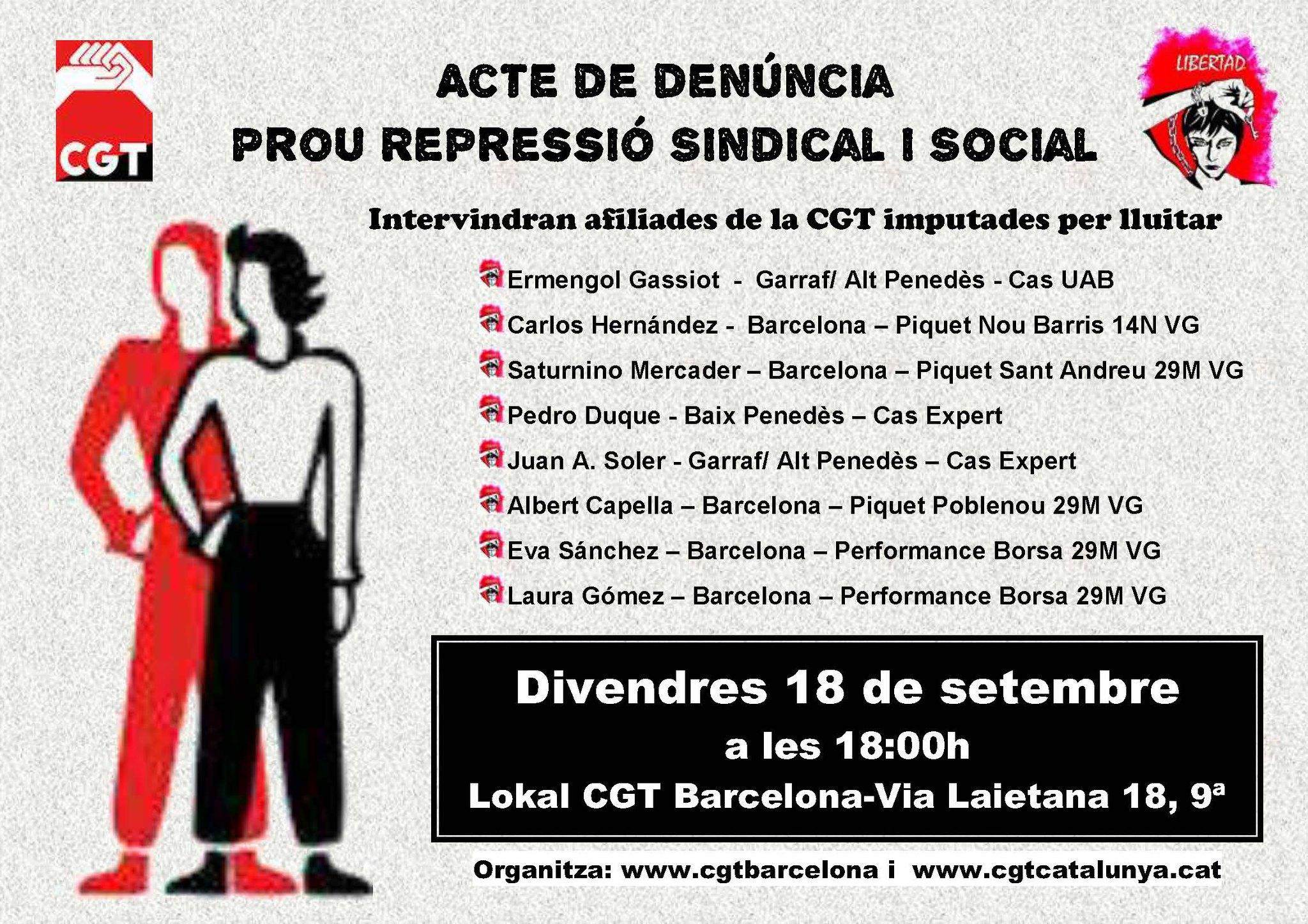 Acte de denúncia Prou repressió sindical i social, el 18 de setembre a Barcelona
