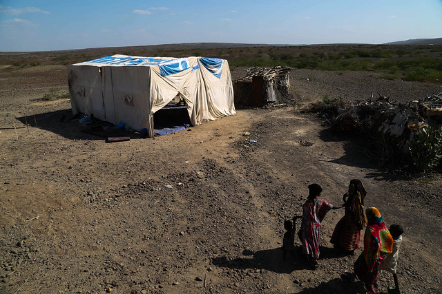 Temporary emergency rub hall tent built by UNICEF for drought affected people in Afar National Regional State, Adaytu woreda (district), Ethiopia.