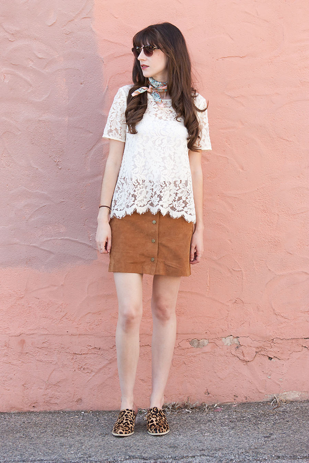 How to Style a Suede Skirt, Lace Top, Leopard Mules, Marais Mules, Bandana Scarf