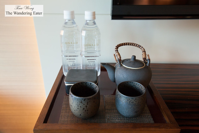 Tea set and bottled water in the King City View Room