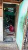 Red girl, green door