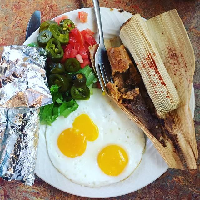 Sweet potato pecan tamales at Bouldin Creek Cafe in Austin, TX