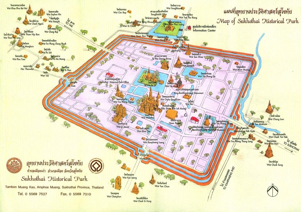 Mapa Sukhothai templos