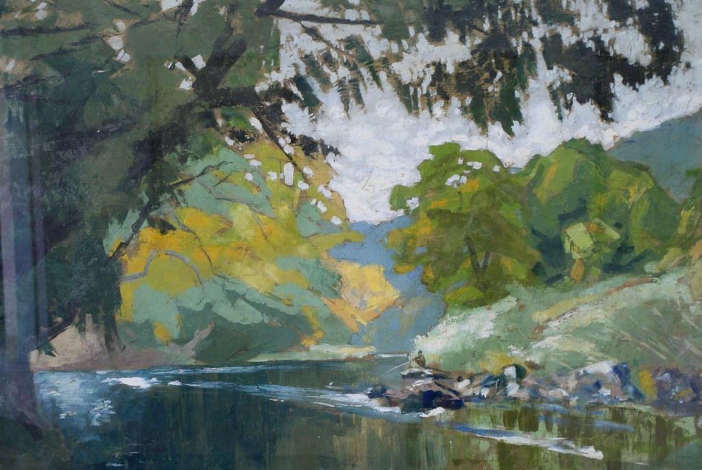 Paysage de forêt, rivière et colline au Musée des Beaux Arts de Saigon.