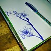 Working on a ground layer for an art journal page. Why use patterned paper when a ballpoint pen does the trick? A bit more work ..but hey...good radio station on and you won't hear me complain! :wink: #pattern #background #pen #flowers #flower #ballpoint