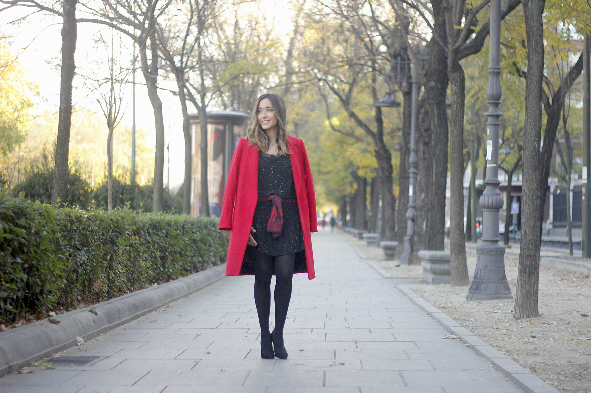 Red Coat With Party Black Dress Mango Outfit Style 04