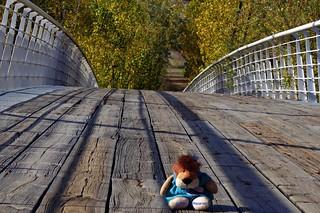 Leoncia en la pasarela sobre el río Manzanares
