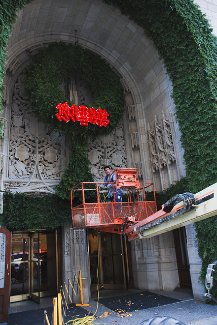 Tribune Tower entrance with Christmas wreath decorations, 2006