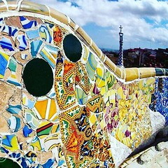 Tile mosaic bench at Park Guell, Barcelona. Antoni Gaudi used mosaic tiles throughout #ParkGuell in Barcelona, Spain.  Join our next Art Project by sending a tile to Gaudi Backyard Summer Project.  I am planning a new summer art project that involves Gaud
