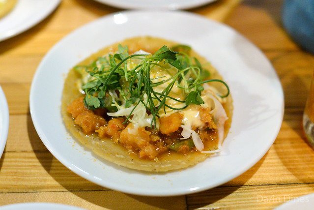 shrimp tortita taco uni bottarga, mayonnaise, cabbage, cilantro (Plascencia)