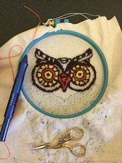 Punch needle owl