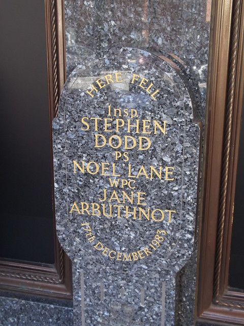 Jane Arbuthnot, Stephen Dodd, Noel Lane, and The Harrods Bombing marble plaque - Here fell Insp Stephen Dodd PS Noel Lane WPC Jane Arbuthnot 17th December 1983