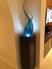 Ebonized Walnut Pedestal with Spotlight