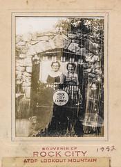 Damaged polaroid souvenir of two women