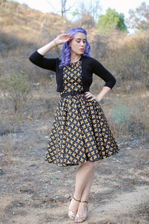 Pinup Girl Clothing Harley Dress in Black and Gold Fleur De Lis print