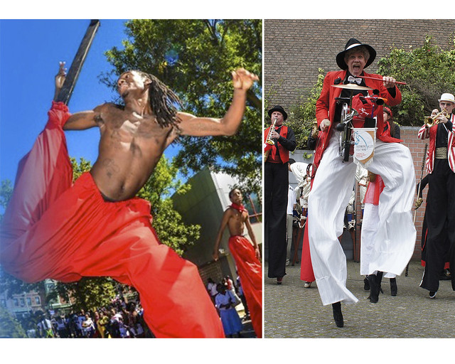 Brooklyn Jumbies (left); photo courtesy of Brooklyn Jumbies. Shinbone Alley Stilt Band (right); photo by Bond Street Theatre.